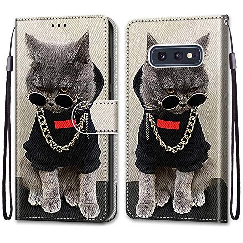 Nadoli Handyhülle Leder für Samsung Galaxy S10e,Bunt Bemalt Cool Gold Kette Katze Trageschlaufe Kartenfach Magnet Ständer Schutzhülle Brieftasche Ledertasche Tasche Etui