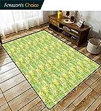 Bigdatastore - Alfombra Antideslizante para Dormitorio de niñas, diseño de Margaritas nostálgicas sobre Fondo de círculos Verdes, Alfombra de salón y Dormitorio de Clase Alta