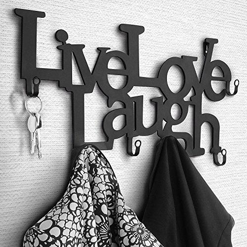 MIADOMODO® Appendiabiti da Parete - 6 Ganci, Ferro Battuto, Nero, Live, Love, Laugh - Attaccapanni Decorativo da Muro, da Ingresso