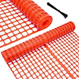 Ohuhu Snow Fence Garden Fence Animal Barrier, 4' x 100' Reusable Plastic Netting Safety Fence Roll, Temporary Pool Fence Construction Fencing Poultry Fence for Deer, Rabbits, Chicken, Dogs, Orange