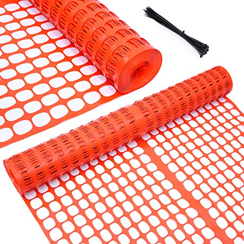 Ohuhu Premium Garden Fence Safety Fence Roll, Heavy Duty Plastic Dog Fence Outdoor Animal Barrier, 4' x 100' Reusable Netting Temporary Pool Fencing for Gardening, Deer, Rabbits, Chicken, Poultry
