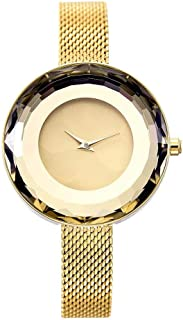 Wangyr Women's Girl Ultra-Thin 10.5mm Quartz Watch 32mm Stainless Steel Mesh with Simple Fashion Waterproof Gold Silver Holiday Gift Unique Fashion Classic Casual Luxury Business Dress