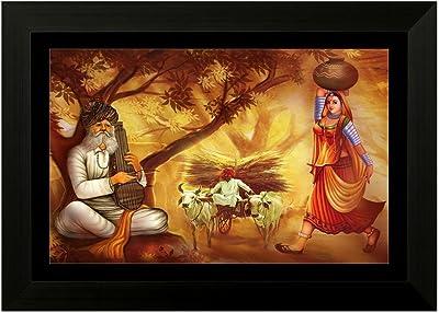 SAF Rajasthani 6552 FolkArt UV Textured Framed Art Print (35 x 50 x 2 cms) SANFMA6552