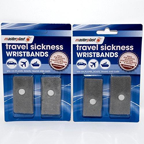 Bandas de muñeca antináuseas para viajar, 2 unidadesIdeal para vacaciones y viajes – Paquete de 2 – (4 en total)