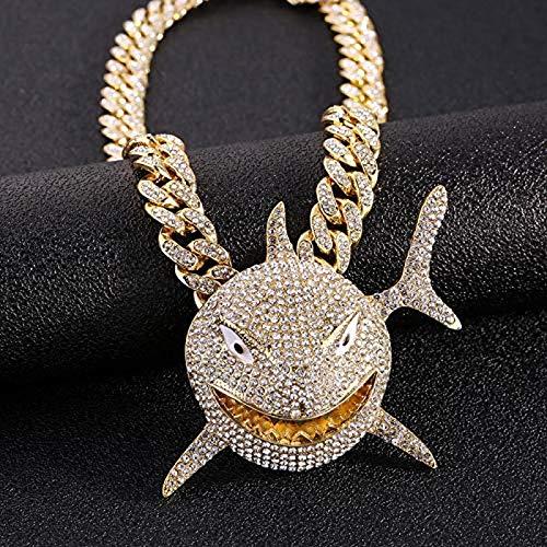 Kpcxdp Collar de los Hombres Colgantes del tiburón, joyería de Hip Hop con Cristales de Hielo, Miami, Collar de Cuba, joyería de Traje, Cadena de Cuerda de Oro