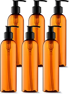 Empty Lotion Bottles 8 Oz. Bullet Ligh-Amber with Black Pump, Great for - Creams, Body Wash, Hand Soap, Self-Tanners, Bronzers and Massage Lotion (Pack of 6)