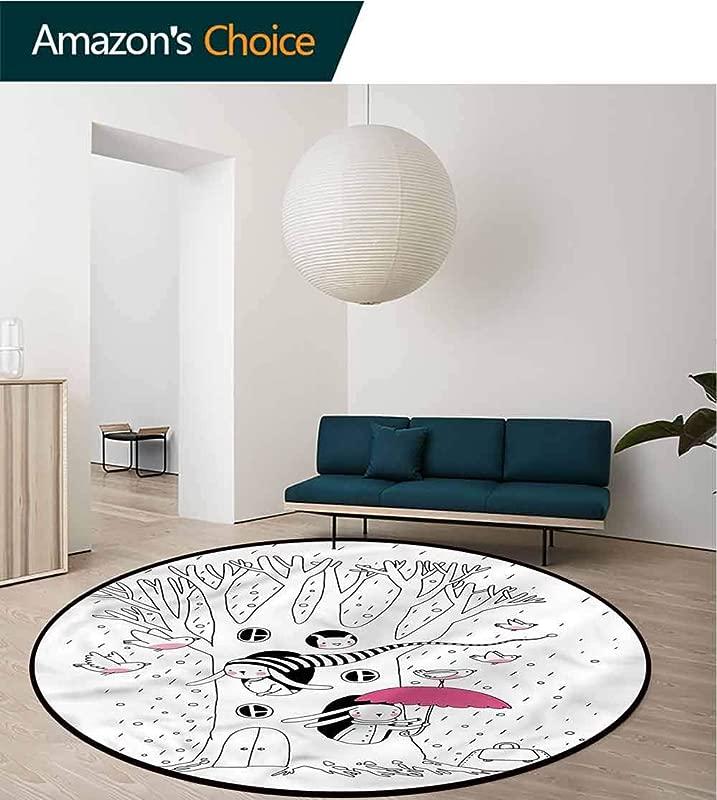 RUGSMAT Magical Modern Machine Round Bath Mat Birds Rabbits Tree Rainy Non Slip Soft Floor Mat Home Decor Diameter 24