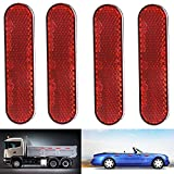 LBZE Quick Mount Reflector,Red Plastic Oval Stick-on Car Reflector Sticker,Work for Cars, Trailer, Motorcycle, Trucks, Boat and The Ground,4pack (red)