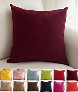 """Best TangDepot Cotton Solid Throw Pillow Covers, 12"""" x 12"""" , Wine Review"""