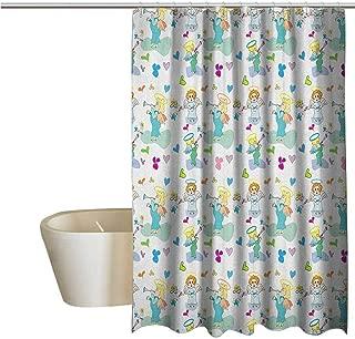Genhequnan Angel Elegant Shower Curtains Elves with Trumpet Flowers Hearts Cupid Butterflies Baby Love Season Nursery Cartoon Waterproof Fabric Shower Curtain W62 x L72 Inch Multicolor