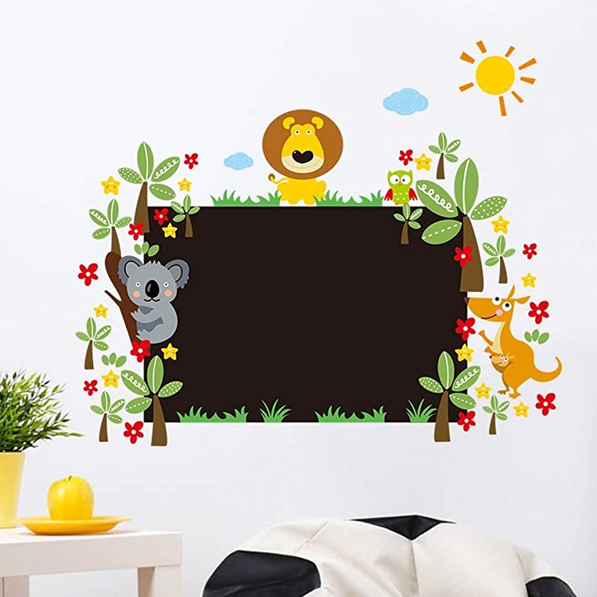 Funif Cartoon Chalkboard Wall Sticker DIY Blackboard Wall Decal Decorative Wallpaper for Kids Room Animals Lion Kangaroo 23.6