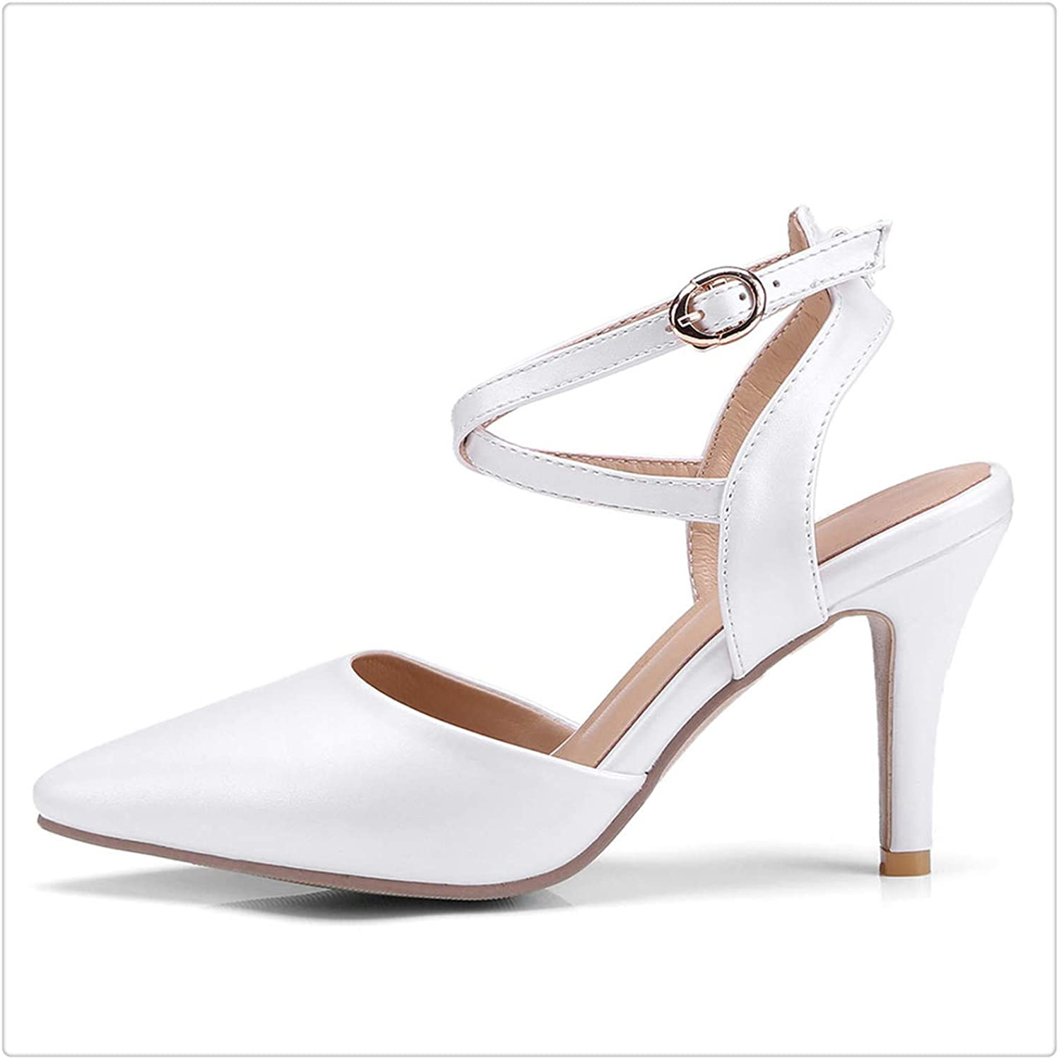 HROST& Summer Women Buckle Sandals Woman Sexy Thin High Heels Cross Tied Ankle Strap Pointed Toe Femme Party shoes Ladies Pumps White 9