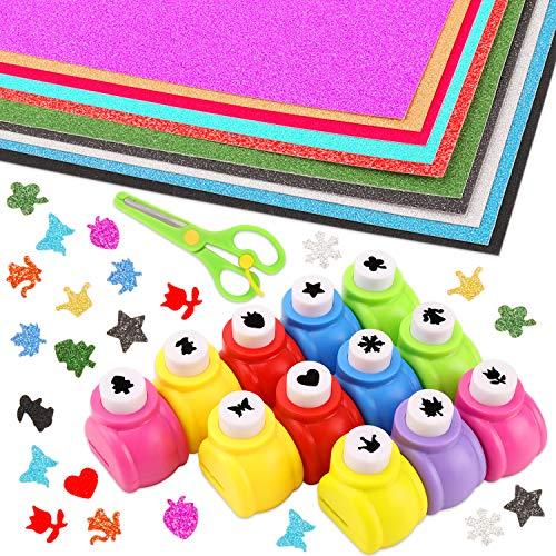 HOWAF 12 Papier Stanzer Motivstanzer Motivlocher Set für Basteln, 10 A4 Glitzer Papier, 1 Sicherheit Scheren, Papierstanzer Set für Bastelarbeiten Papierbasteln DIY Grußkarten Scrapbooking