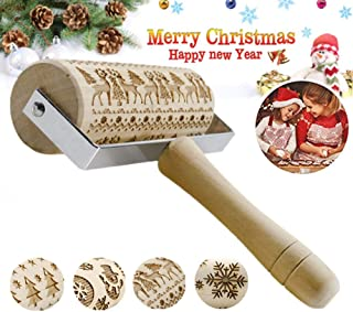 Wooden Christmas Embossing Pattern Rolling Pin, Laser Engraved Pastry Pizza Baking Roller Pin for Christmas Cookies Baking Non Stick (Christmas Elk)