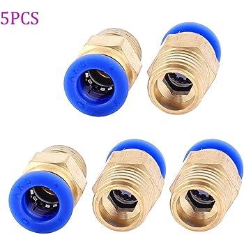 8BSP macho a 4 mm de aire neum/ático Codo Conexi/ón R/ápida 2 piezas 1