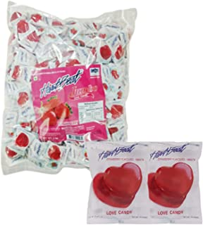 Heart Beat Jumbo Love Candy Strawberry Flavour 6g Each - Bulk Value Pack 166 Piece Pack (1kg)
