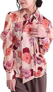 [サワ アラモード] お花 プリント リボン タイ付き シアー ブラウス レディース ファッション トップス リボン シアー 花柄 長袖