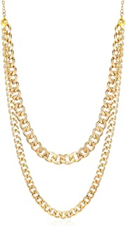 Women's Heavy Metal Chunky Chain Necklace Linked Costume Sweater Jewelry Accessories