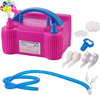 Portable Dual Nozzle 110V 600W Electric Balloon Pump Blower Inflator + Hose Extension and Balloon Decorating Strip Kit for All Party Balloons Decorations
