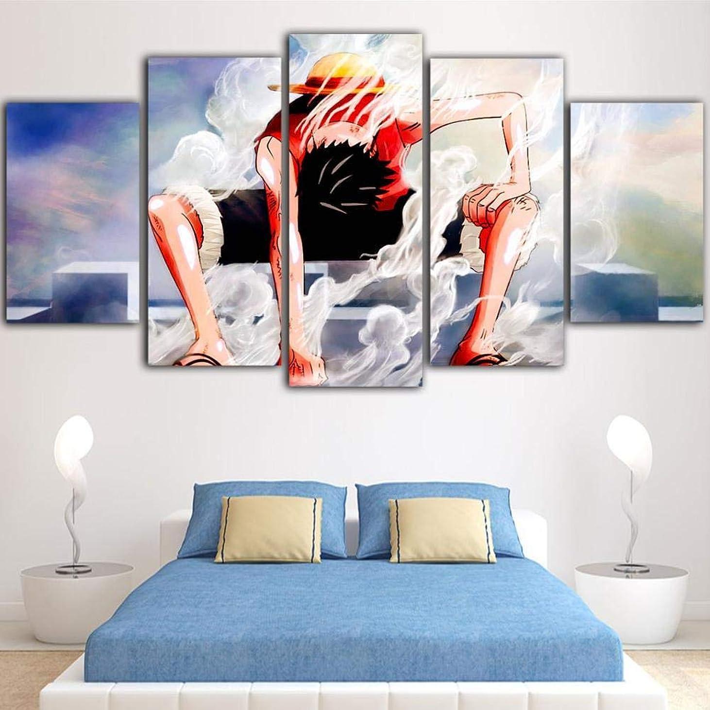 キネマティクス観光人気のSsckll 5ピースキャンバス絵画ワンピースポスターアニメ防水インクDecoracion家の装飾-フレームレス