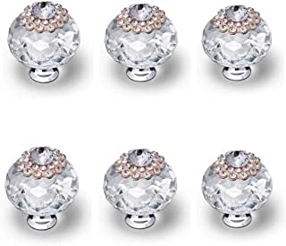 Cabinet Knobs Crystal Clear Glass Zinc Alloy Pull Handles for Furniture Dresser Drawers Wardrobe Cupboard Pack of 6 Pcs (Clear)