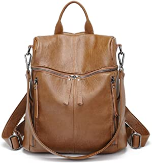 Xuan Yuan Backpack - Women's Fashion Versatile PU Leather Backpack, College Leisure Travel Multi-Function Large Capacity Bag, A4 File Computer IPad Briefcase Backpack (Color : Brown)