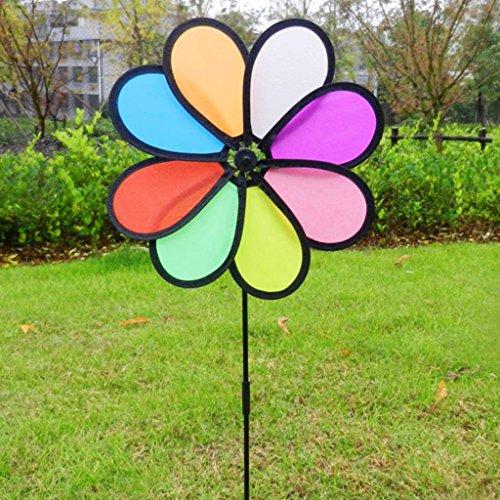 ECMQS 8 Moulin à vent coloré pour enfants Décoration de jardin Multicolore