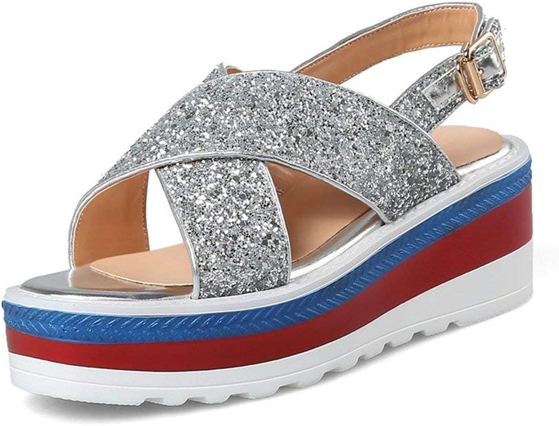 Fashion shoesbox Women's Fashion Open Toe Ankle Strap Buckle Platform Sandals Chunky Heel–Comfort Wedges Sandals shoes