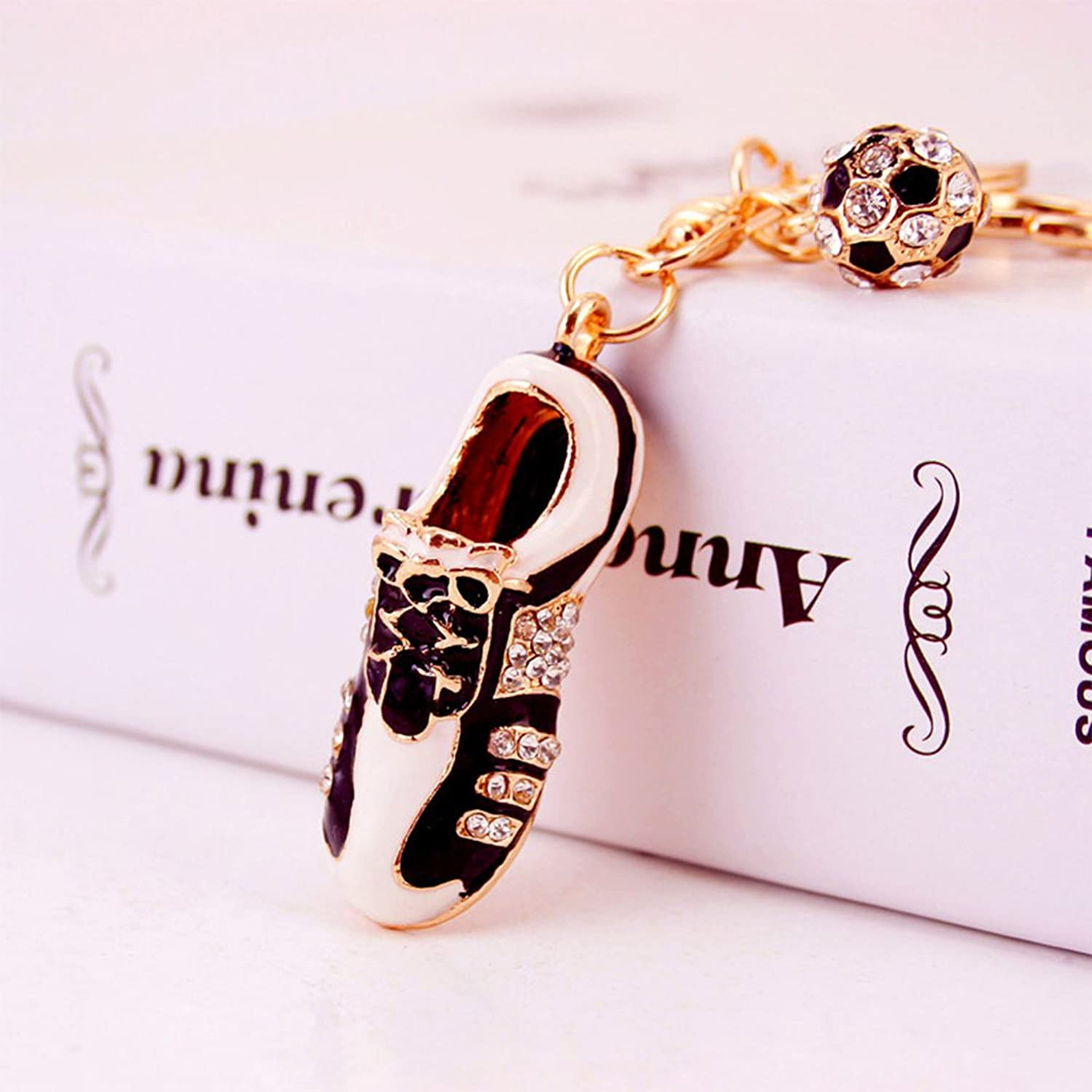 Jzcky Shzrp Football and shoes Crystal Rhinestone Keychain Key Chain Sparkling Key Ring Charm Purse Pendant Handbag Bag Decoration Holiday Gift(golden)