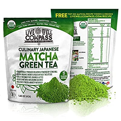 Best Japanese Organic Matcha Green Tea Powder Culinary (15 Servings 1.60oz) for Baking, Smoothies, Lattes & Weight Loss Shakes, Fat Burner & Metabolism Boosters, FREE TOP 100 Recipes Ebook & Videos from Live Well Compass