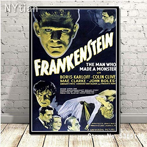 shuimanjinshan Retro Frankenstein Universal Monsters Horror Movie Poster Wall Art Canvas Painting Picture Prints Home Living Room Decoration 50X70Cm No Frame H-9351