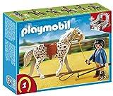 PLAYMOBIL - Knabstrupper con establo, Color Rojo y Gris (5107)