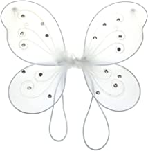 Homeford Firefly Imports Organza Nylon Butterfly Wings with Glitters, 12-Inch, White