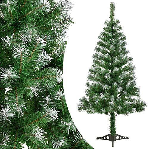 Juskys Weihnachtsbaum künstlich mit Schnee & Ständer | 150 cm | naturgetreue Nadeln | grün | Tannenbaum Christbaum Weihnachtsdeko Weihnachten Deko