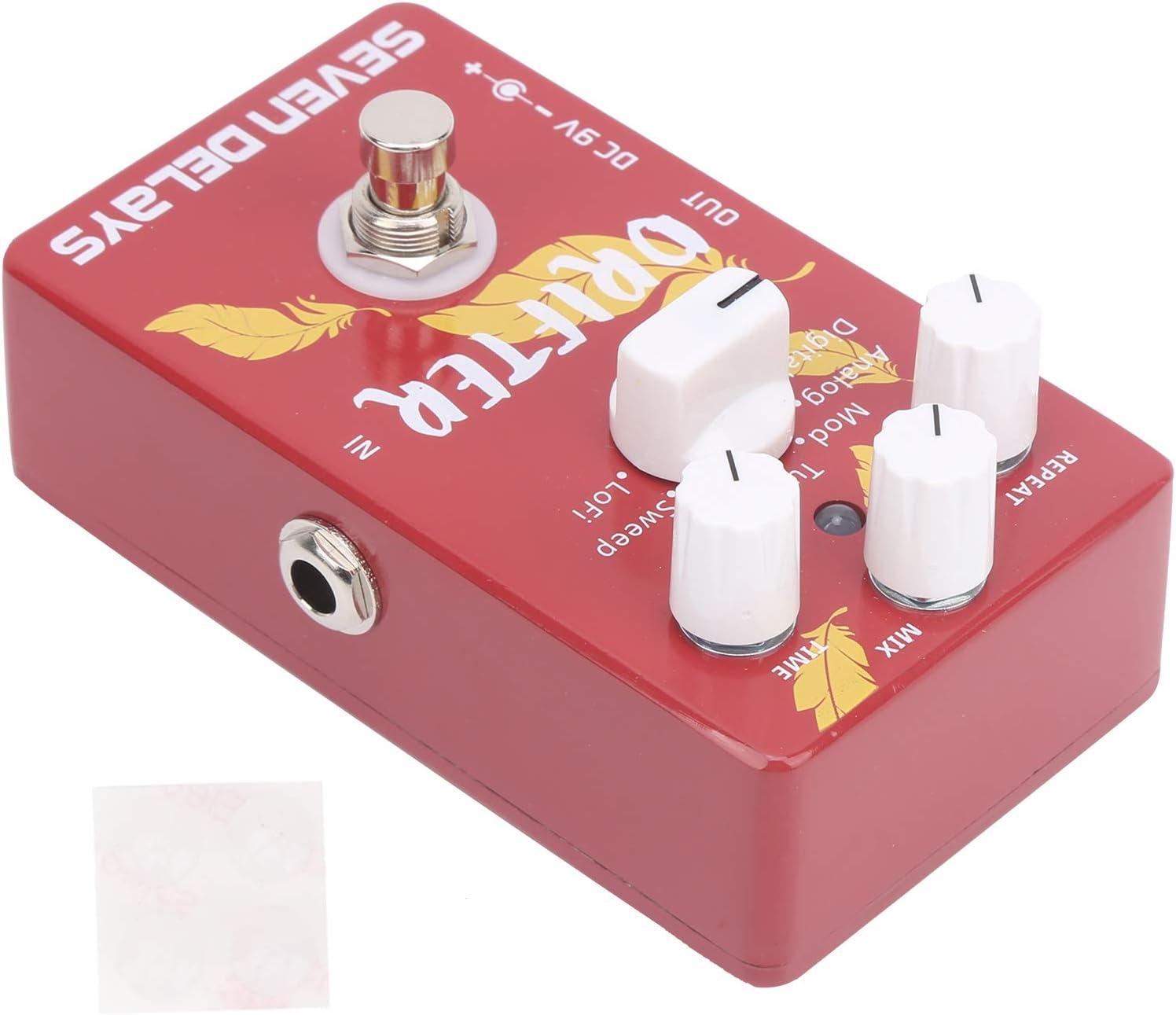 Efecto de pedal de retardo, modulación de pedal, 7 modos de efectos, modulación de refuerzo, accesorios de guitarra armónica DC 9V