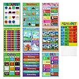 STOBOK Carteles educativos para niños en Edad Preescolar niños pequeños niños: póster ABC del Alfabeto números Formas Colores Estaciones Tabla meteorológica días Meses 16 x 11 Pulgadas 10 Piezas