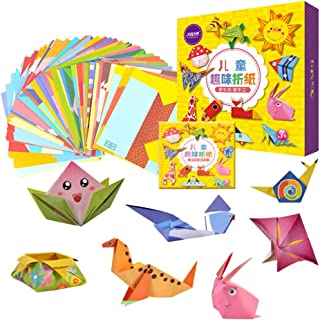 TOYANDONA Kids Origami Kit - Cartoon Animal Craft Folding Paper Handcraft Colored Paper Double Sided Arts and Crafts Proje...