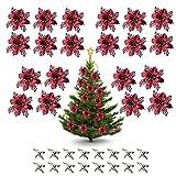 Kslogin 20 fiori di Natale natalizi con brillantini, stelle di Natale, fiori artificiali, decorazioni per albero di Natale, per matrimonio, ghirlande, decorazione per Capodanno, 11 cm
