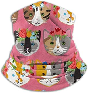 SMDSO6ghj Whiskers & Tails Dressy Kitty Cats Seamless Neck Gaiter Scarf Bandana Face Mask Seamless UV Protection for Motorcycle Cycling Riding Running Headbands Unisex