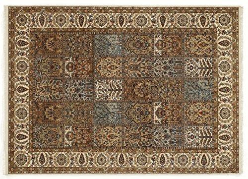 CASPIAN GHOM echter klassischer Orient Felderteppich handgeknüpft in creme-beige, Größe: 60x90 cm