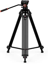 GEEKOTO Video Tripod, 72 inches Heavy Duty Aluminum Twin Tube Tripod with a Large Load..