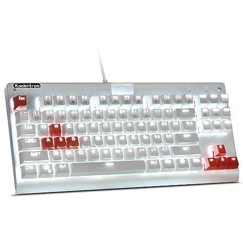 Koolertron AW-JXMJP06 87 Keys Tenkeyless Mechanical Gaming Keyboard Anti-Ghosting Blue Switches White