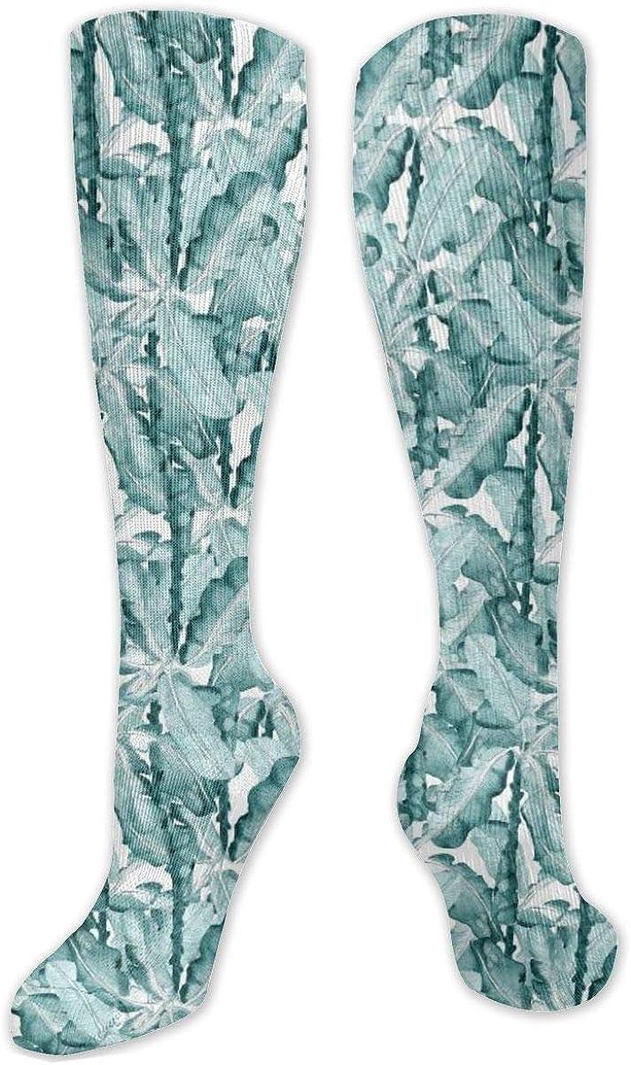 White Banana Leaves Pattern Knee High Socks Leg Warmer Dresses Long Boot Stockings For Womens Cosplay Daily Wear