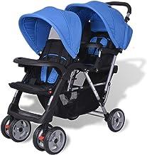 Festnight Cochecito de Bebé con 2 Capotas Plegables Sillas de Paseo 118 x 41 x 108 cm Azul y Negro