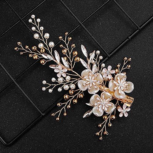 XJOE Huwelijk hoofdtooi handgemaakte parel bloem haarspeld met bruidsjurk