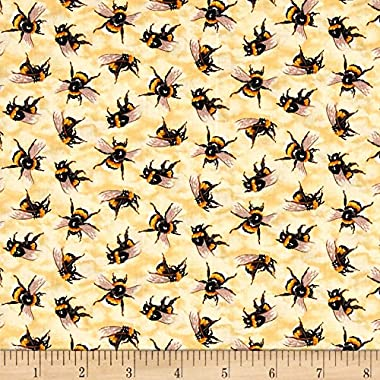Fabri-Quilt You You Bug Me Bees Yellow Fabric By The Yard