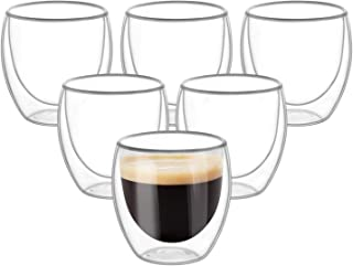 Double Wall Cups Glass 8.5 OZ - Set of 6, Insulated Thermal Mugs Glasses For Tea, Coffee, Latte, Cappucino, Cafe, Milk