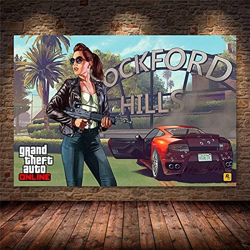 Weijiajia Grand Theft Game Auto V Video GTA 5 Lienzo Pintura Carteles e Impresiones Arte de Pared para Sala de Estar Dormitorio Decoración de Juegos 50x70cm F-559
