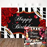 Avezano Red Roses Birthday Backdrop Floral Pearl Striped Birthday Party Decorations Black White Stripe Roses Woman Birthday Party Banner Photography Background (7x5ft)