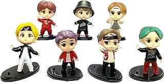 7PCS BTS رویه کیک انگشتی شخصیت ها مجموعه ای از Action Figure Toys BTS کاپ کیک ها و مزایای مهمانی برای دکوراسیون مهمانی BTS